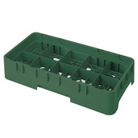 Cambro 10HS434119 Sherwood Green Camrack 10 Compartment 5 1/4 inch Half Size Glass Rack