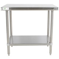 Regency 30 inch x 36 inch 16-Gauge 304 Stainless Steel Commercial Work Table with Undershelf