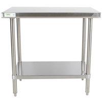 "Regency 30"" x 36"" 16-Gauge 304 Stainless Steel Commercial Work Table with Undershelf"