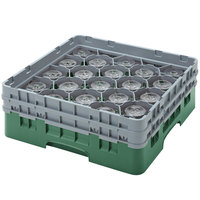 Cambro 20S638119 Camrack 6 7/8 inch High Sherwood Green 20 Compartment Glass Rack
