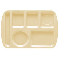 GET TL-151 Tan Melamine 9 1/2 inch x 14 3/4 inch Left Hand 6 Compartment Tray - 12 / Pack