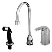 T&S B-2745 Side Mount Faucet with Remote On/Off Control Base, 48 inch Flexible Stainless Steel Hose, and Flexible Stainless Steel Water Connectors ADA Compliant