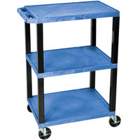 Luxor / H. Wilson WT34BUS Blue 34 inch Three Shelf AV Utility Cart