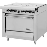 Garland M45S Master Series Natural Gas 2 Section Front Fired Hot Top 34 inch Range with Storage Base - 90,000 BTU