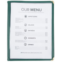 8 1/2 inch x 11 inch Six Pocket Clear Menu Cover - Green