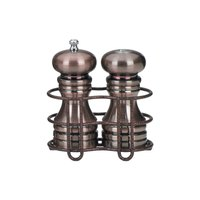 Chef Specialties 90055 5 7/8 inch Burnished Copper Pepper Mill / Salt Shaker with Holder