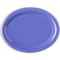 Carlisle 4308014 Durus 13 1/2 inch Ocean Blue Oval Melamine Platter - 12/Case