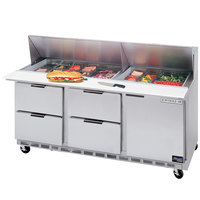 Beverage-Air SPED72-08-4 72 inch Refrigerated Salad / Sandwich Prep Table with One Door and Four Drawers