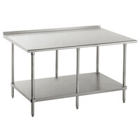 Advance Tabco FAG-2410 24 inch x 120 inch 16 Gauge Stainless Steel Work Table with Undershelf and 1 1/2 inch Backsplash