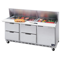 Beverage-Air SPED72-18-4 72 inch Refrigerated Salad / Sandwich Prep Table with One Door and Four Drawers