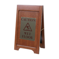 Wooden Wet Floor Sign with Mahogany Finish - 24 inch x 14 inch