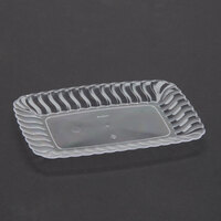 Fineline Flairware 257CL Clear 5 inch x 7 inch Plastic Snack Tray - 252 / Case