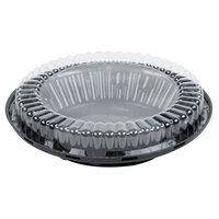 D&W Fine Pack J44-1 10 inch Black Pie Take Out Container with Clear Low Dome Lid - 20/Pack