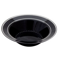 Fineline Silver Splendor 512-BKS Black 12 oz. Plastic Soup Bowl with Silver Bands - 15 / Pack