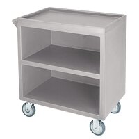 Cambro BC330180 Light Gray Three Shelf Service Cart with Three Enclosed Sides - 33 1/8 inch x 20 inch x 34 5/8 inch