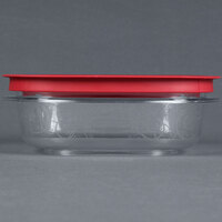 Rubbermaid 7H76 3 Cup Clear Square Premier Storage Container with Chili Red Lid (FG7H76TRCHILI)