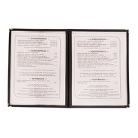 8 1/2 inch x 11 inch Black Two Pocket Clear Menu Cover