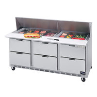 Beverage-Air SPED72-24M-6 72 inch Mega Top Six Drawer Refrigerated Salad / Sandwich Prep Table
