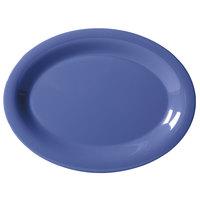 GET OP-135-PB Diamond Mardi Gras 13 1/2 inch x 10 1/4 inch Peacock Blue Oval Melamine Platter - 12 / Case