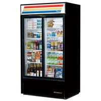 True GDM-37-HC-LD Black Refrigerated Sliding Glass Door Merchandiser with LED Lighting - 37 Cu. Ft.