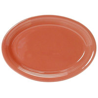 Tuxton Concentrix CNH-1352 Cinnebar 13 1/2 inch x 9 3/4 inch Oval China Platter Coupe 6 / Case