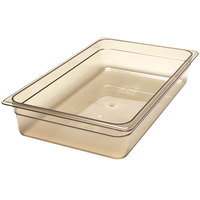 Cambro 14HP150 H-Pan Full Size Amber High Heat Food Pan - 4 inch Deep