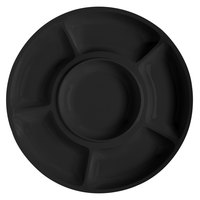GET APS -6-BK Milano 14 inch Black Round 6 Compartment Plate - 12 / Pack