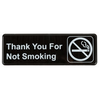 9 inch x 3 inch Black and White Thank You For Not Smoking Sign