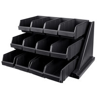 Cambro 12RS12110 Versa Black Self Serve 3-Tier Condiment Stand with 12 inch Bins