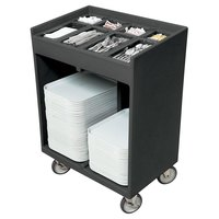 Cambro TC1418191 Granite Gray Tray and Silverware Cart with Protective Vinyl Cover