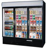 Beverage Air MMR72-1-B Marketmax 75 inch Three Section Glass Door Black Merchandising Refrigerator - 72 Cu. Ft.