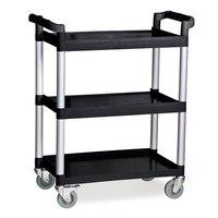 Three Shelf Utility Cart / Bus Cart - Black, 32 7/8 inch x 16 5/16 inch x 37 13/16 inch
