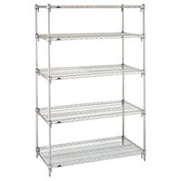 Metro 5A457C Stationary Super Erecta Adjustable 2 Series Chrome Wire Shelving Unit - 21 inch x 48 inch x 74 inch