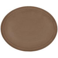 Carlisle 2500GR076 24 inch x 19 1/2 inch Toffee Tan Griptite Oval Non Skid Fiberglass Serving Tray