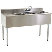 Eagle Group B5L-18 Compartment Under Bar Sink with 24 inch Left Drainboard and Splash Mount Faucet - 60 inch