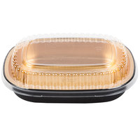 Durable Packaging 9331-PT-100 Small Black and Gold Black Diamond Foil Entree / Take Out Pan with Dome Lid - 25/Pack