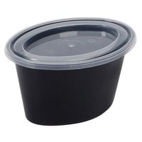 Newspring YE501-B ELLIPSO 1 oz. Black Oval Souffle / Portion Cup with Clear Lid - 1000/Case