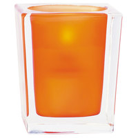 Sterno Products 80240 3 3/4 inch Orange Frost and Clear Square Liquid Candle Holder