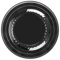 Fineline Silver Splendor 506-BKS 6 inch Black Plastic Plate with Silver Bands - 15 / Pack