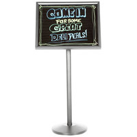 Aarco Single Pedestal Chrome Frame Black Marker Board with Neon Markers
