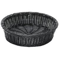 GET WB-1551-BK 15 1/2 inch x 4 1/4 inch Designer Polyweave Black Round Basket - 12 / Case