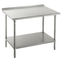 14 Gauge Advance Tabco FSS-305 30 inch x 60 inch Stainless Steel Commercial Work Table with Undershelf and 1 1/2 inch Backsplash