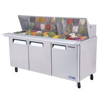 Turbo Air MST-72-30 72 inch M3 Series Mega Top Refrigerated Salad / Sandwich Prep Table with Three Doors