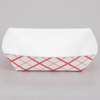 #300 3 lb. Red Check Paper Food Tray - 500 / Case