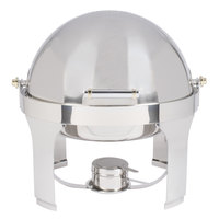 Vollrath 46070 6 qt. New York, New York Roll Top Round Chafer with Brass Trim