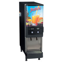 Bunn Silver Series 37900.0044 JDF-2S Two Flavor Cold Beverage System with Lighted Juice Graphic and Remote Dispense Switch