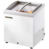 True TFM-29AL White Angled Glass Lid Horizontal Freezer - 6.3 cu. ft.