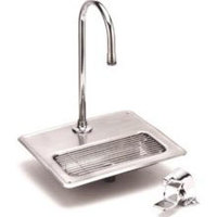 T&S B-1240 Water Filler Station with B-0520 Rigid Gooseneck, B-0507 Single Pedal Valve Body, and Stainless Steel Drip Pan