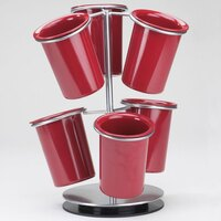 Cal Mil 1227-39 Silver Iron 6-Ring Cylinder Display - 12 inch x 12 inch x 15 1/4 inch