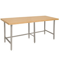 Advance Tabco TH2S-248 Wood Top Work Table with Stainless Steel Base - 24 inch x 96 inch